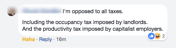 communist chuck kandler opposed to occupancy tax by landlords and productivity tax by capitalists