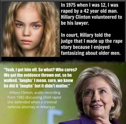 hillary slut shame 12 year old to win case vile dems double standards hypocrisy moral metoo!