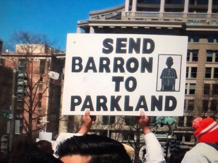send barron to parkland sign evil vile dems gun