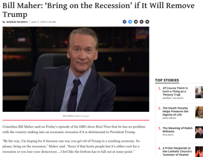bill maher bring on recession if it will remove trump