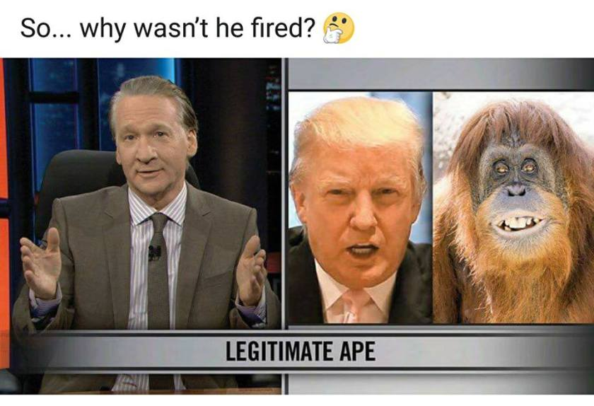 double standards no firing maher ape comparison trump