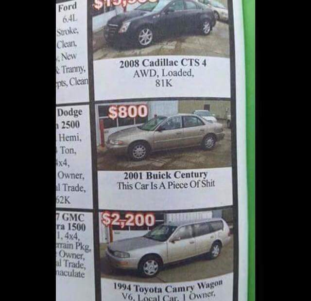 FB_IMG_1433033006256 honesty in advertising car is piece of shit buick century