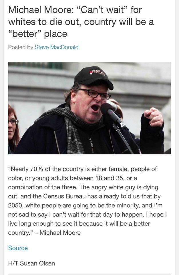 moore is less racist whites die genocide