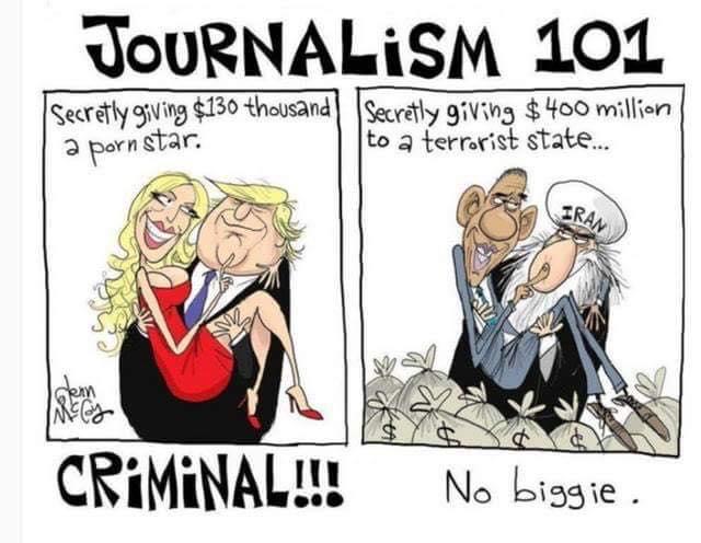criminal no biggie journalism fakenews 101 liberal logic iran stormy trump obama selective outrage