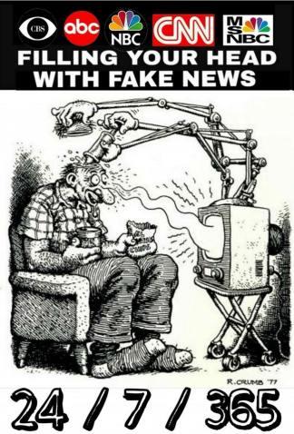 fake news cbs abc nbc cnn msnbc brainwash tv tube