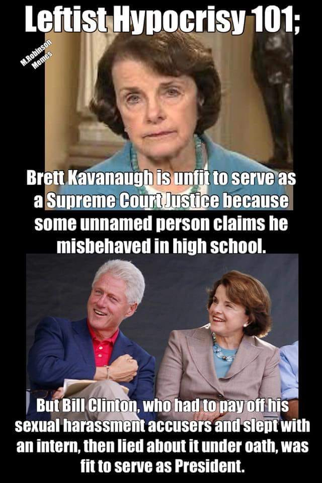 feinstein bill clinton leftist hypocrisy christine ford high school supreme court president