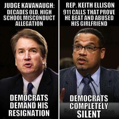 kavanaugh vs ellison double standards hypocrisy liars of the left christine ford bearing false witness whores4hillary