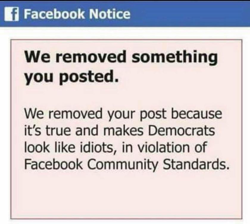 zuckface censorship remove post make democrats look like idiots true fakenews