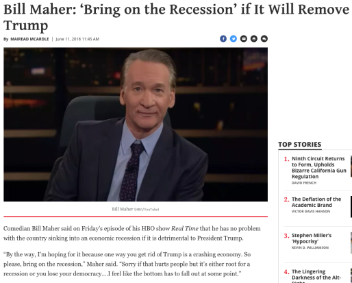 bill maher wishing suffering on own base to get rid of trump recession bring it on democrat values