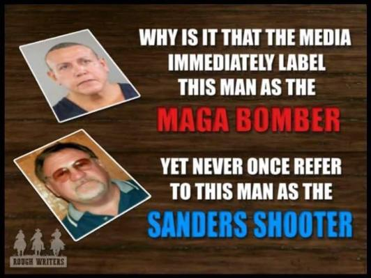 MAGABOMBER SANDERS SHOOTER liarsoftheleft double standarfds violentdems bomb hoax