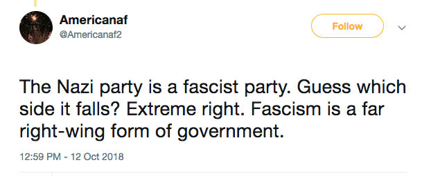 nazi is fascist extreme right tweet libtard americanaf2