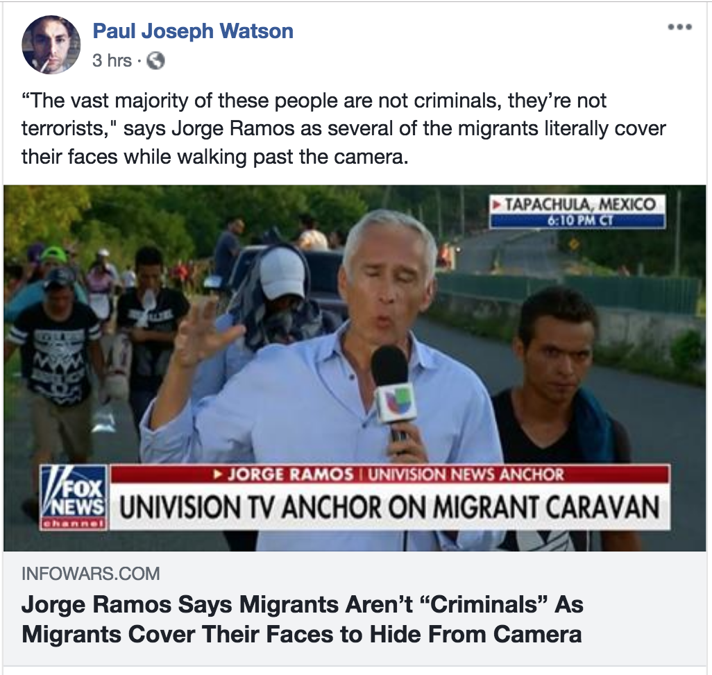 pjw jorge ramos says migrants are not criminals as they coer faces to hide from camera caravan illegal invading army terrorists libtard liars lies Screen Shot 2018-10-23 at 12.38.13 PM