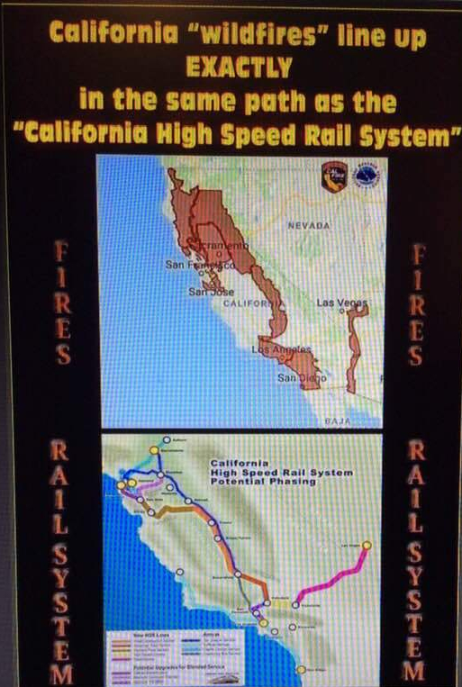 wildfires line up in same path california high speed rail system arson