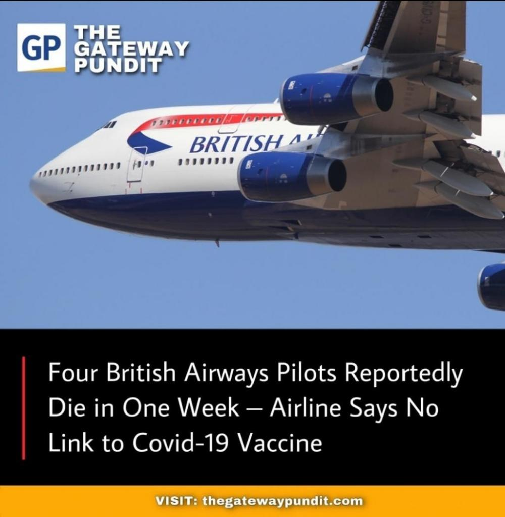 """British Airways Health """"Experts"""" Confirm Pilot Deaths But Insist """"No Link"""" to COVIDJab"""